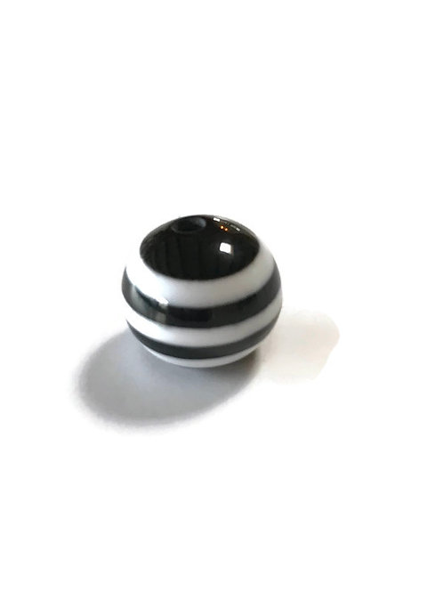 round striped black and white bead