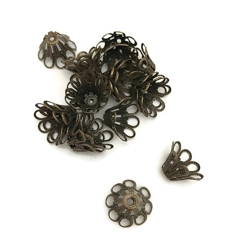 30  stamped metal filagree bead caps antique bronze 14 mm
