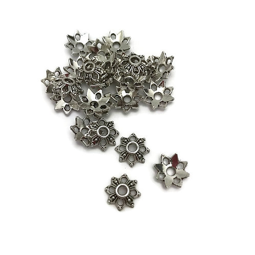 35 Tibetan Style Alloy Bead Caps, Lead Free & Nickel Free, Antique Silver, 9x9x2.5mm, Hole: 2mm julie haymaker