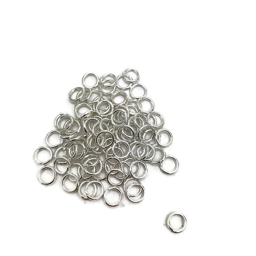 6 mm x 1 mm silver tone jump rings