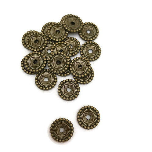 30  Tibetan style spacer beads 12 mm  with knob edge