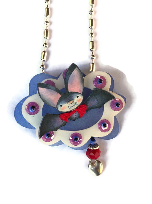 "Halloween  Bat"" Radar ""online class and kit necklace or brooch"