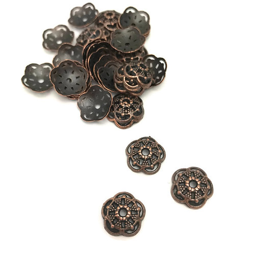 30 Tibetan Style Alloy Bead Caps, 6-Petal, Nickel Free & Lead Free, antique Red Copper, julie haymaker