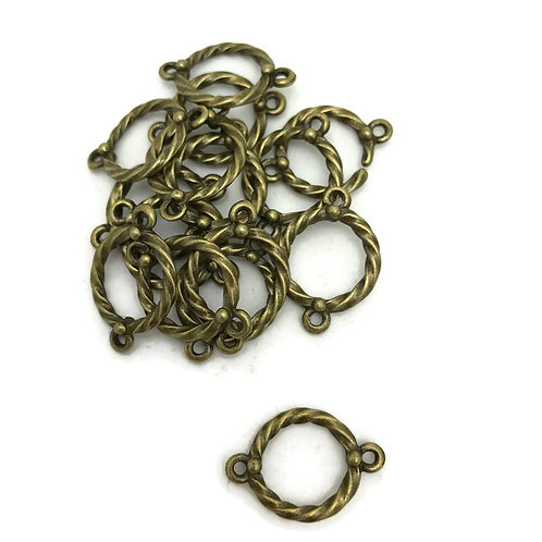 30 antique bronze ring links rope style