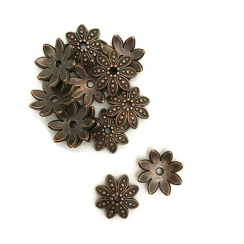 30 antique copper 15 mm tibetan style bead cap