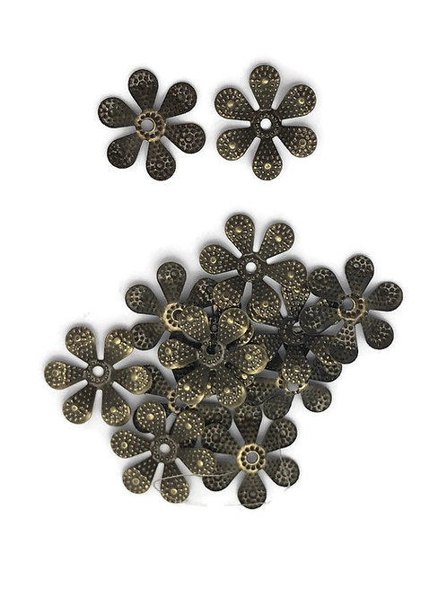 antique bronze flower bead cap filigree stamped metal bendable