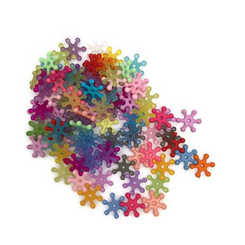 36 lucite multi colored Sputnik / Gear style  beads