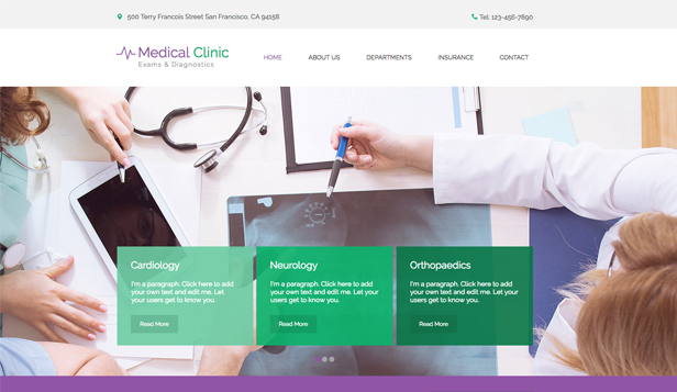 Health & Wellness website templates – The Medical Clinic