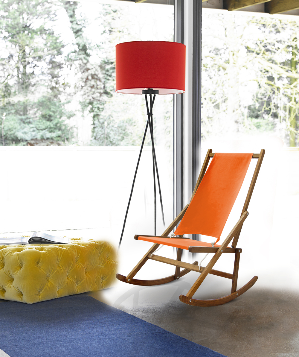 Orange Folding Rocking Chair Modern