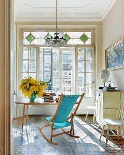 Blue Rocking Deck Chair in paris
