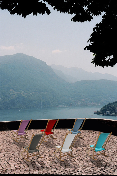 Rocking chair viewpoint over a lake