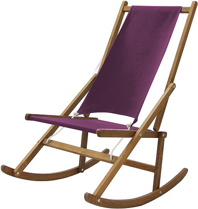Folding Rocking Deck Chair in Outdoor canvas fabric Plum designed by WAWA