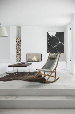 Winter Rocking Chair Fur Modern