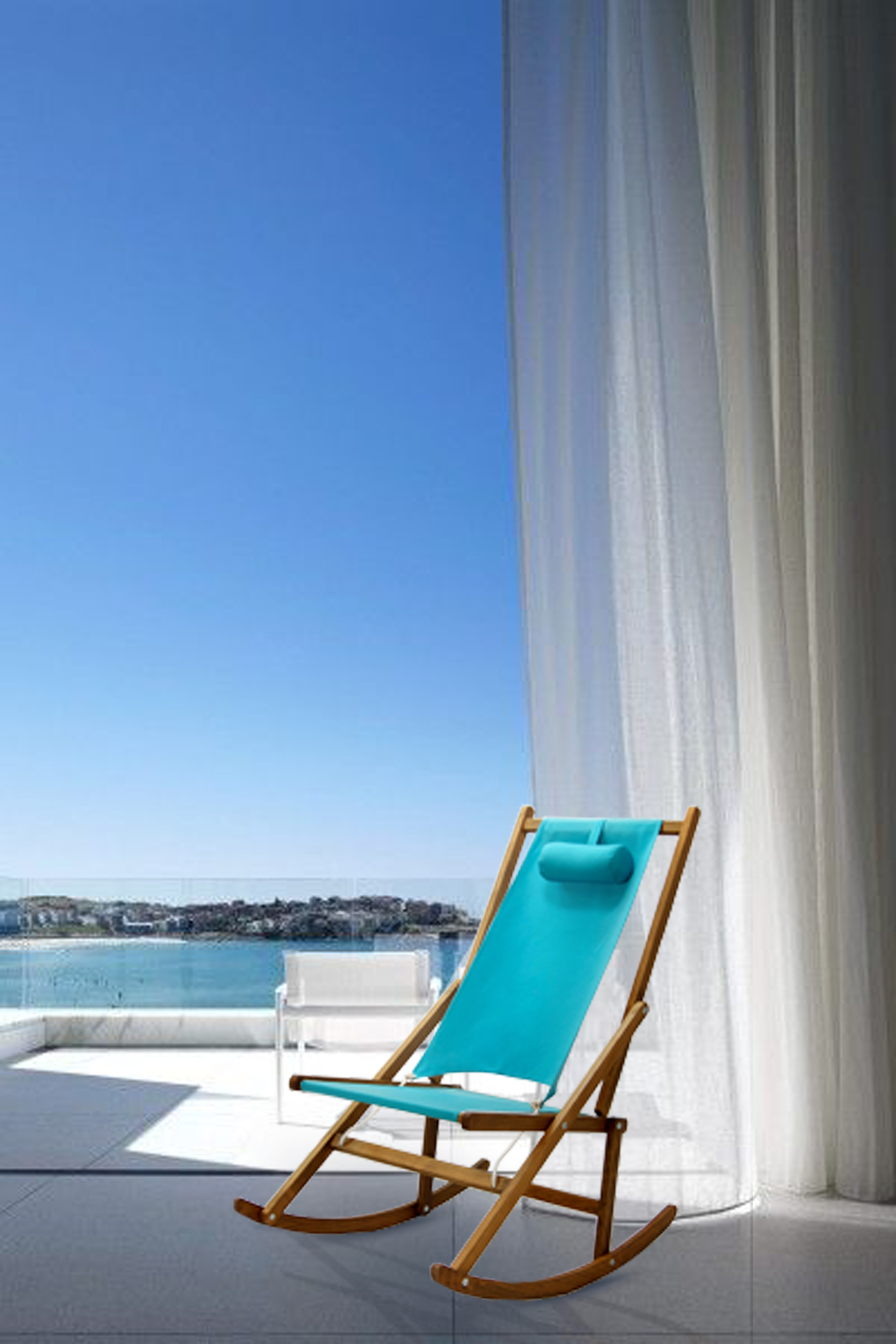 Blue Folding Rocking Chair Modern