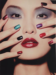 Asian model with multi colored nails cnd shellac