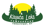 Logo for Kayuta Lake Campground of the sun setting behind trees, a tent, and a conoe