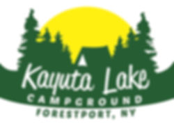Kayuta Lake's logo of a canoe with the sun setting behind pine trees and a tent