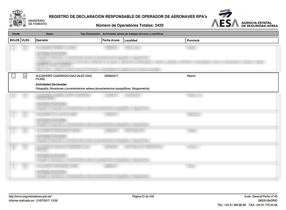 Operadora de Drones Homologada por AESA
