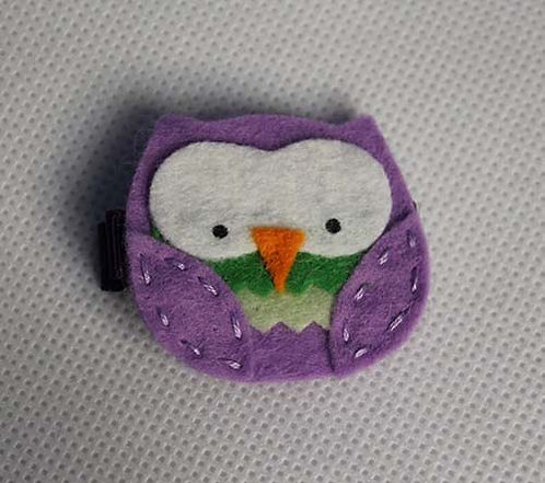 PURPLE & GREEN CHUBBY OWL SNAP CLIP