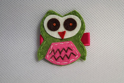 GREEN OWL WITH PINK BELLY HAIR CLIP