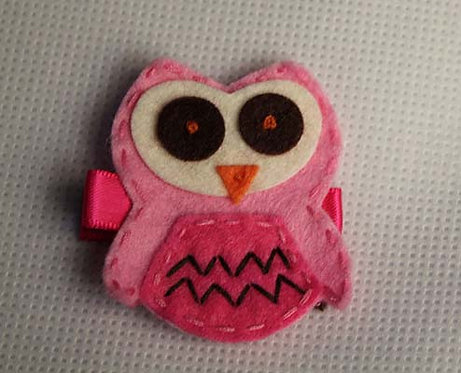PINK OWL WITH PINK BELLY HAIR CLIP