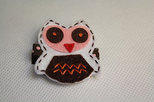 WHITE OWL WITH BROWN BELLY HAIR CLIP
