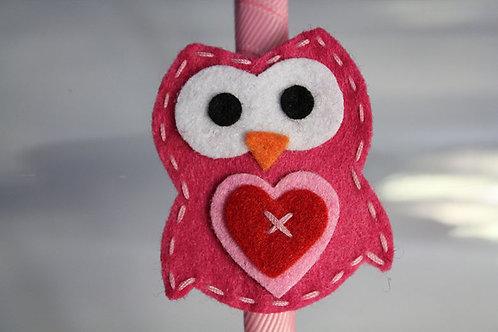 PINK OWL WITH HEART HEADBAND