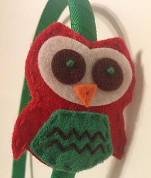RED & GREEN HOLIDAY OWL HEADBAND