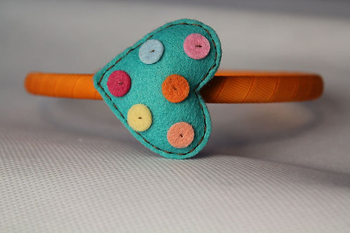 TURQUOISE DOTTED HEART HEADBAND