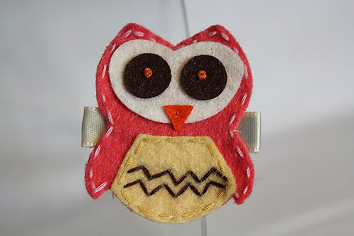 CORAL OWL WITH TAN BELLY HAIR CLIP