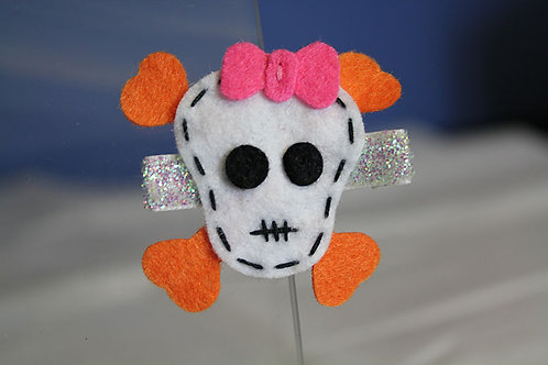 PINK & ORANGE SKULL & CROSS BONE HAIR CLIP