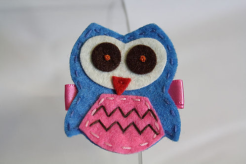 BLUE OWL WITH PINK BELLY HAIR CLIP