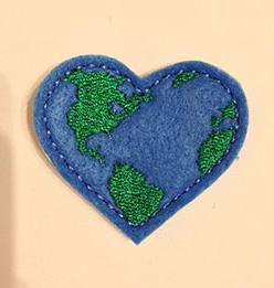 EARTH DAY HEART HAIR CLIP