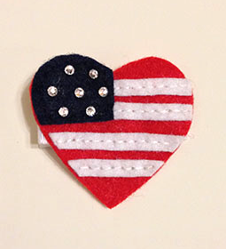 U.S. FLAG RHINESTONE HEART HAIR CLIP