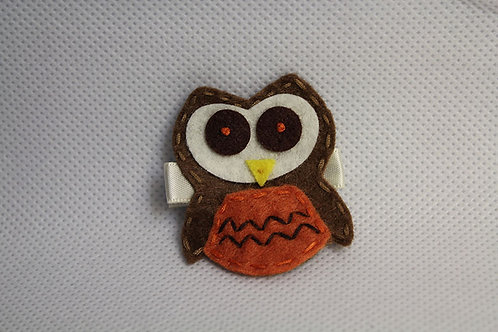 BROWN OWL WITH ORANGE BELLY HAIR CLIP