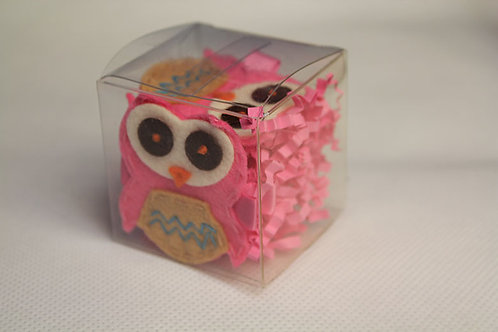 PINK OWL WITH TAN BELLY HAIR CLIP