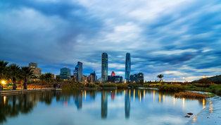 Chile_Santiago_Houses_Rivers_Evening_Sky