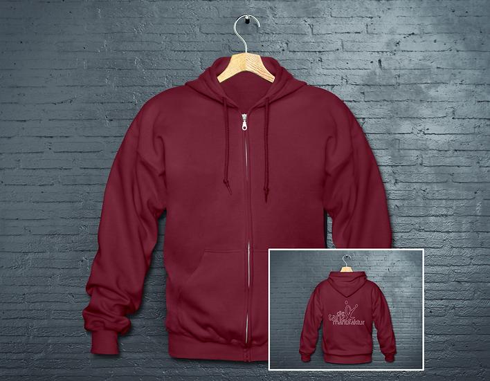 minimal logo zipper burgundy