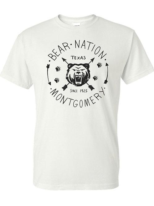 Bear Nation T-shirt, Grey and White