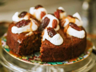Date and Walnut Cake with Caramel