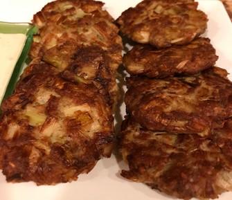 Keftes de Prasa (Leek Fritters with Dill Sauce)