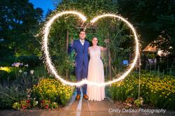 sparkles around bride and groom