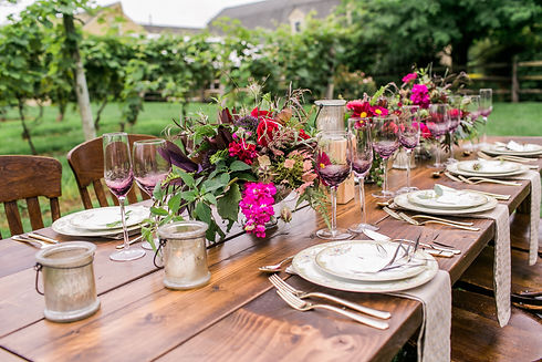 table set in vineyard