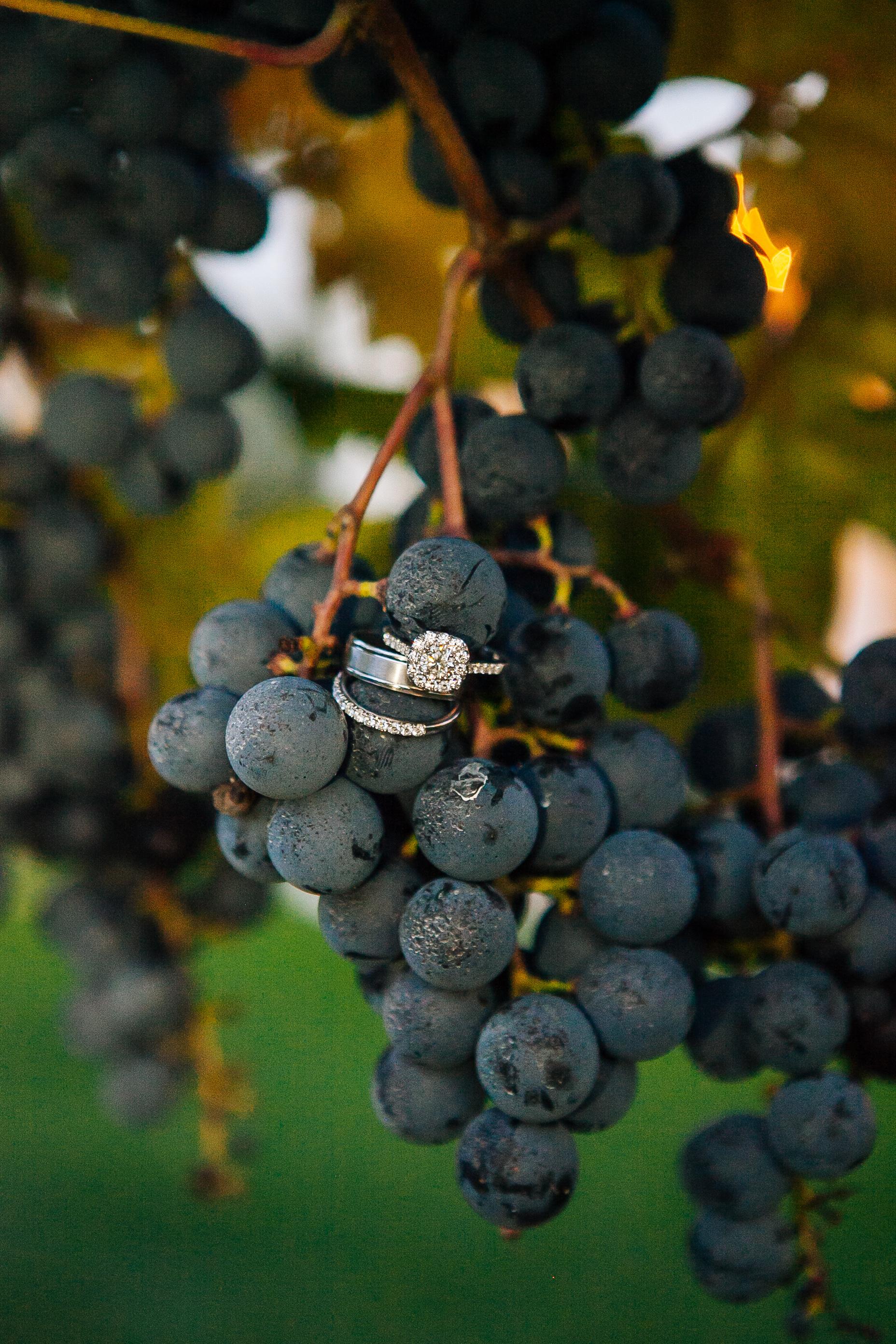 wedding ring on grape