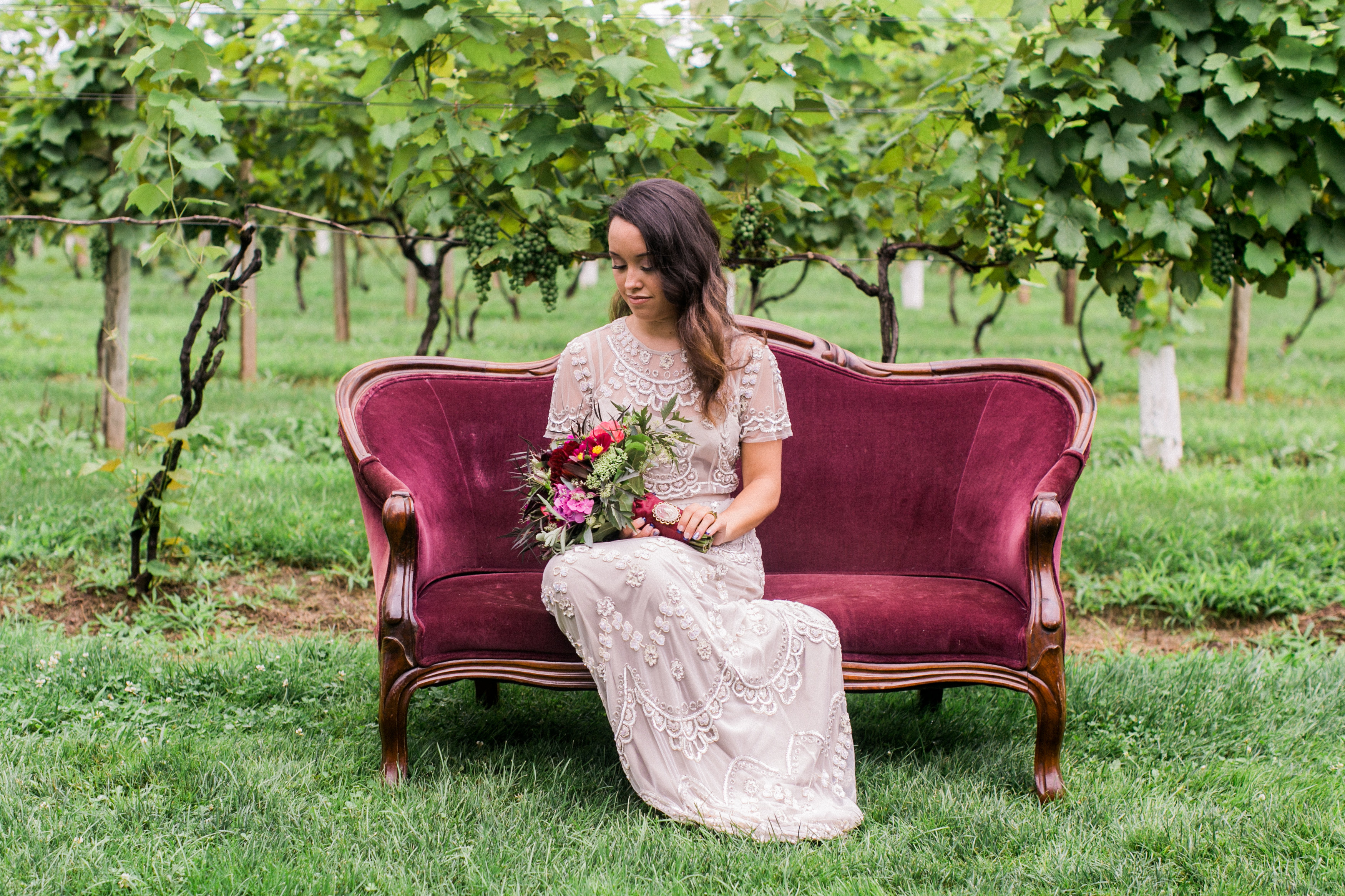 bridesmaid sitting on couch