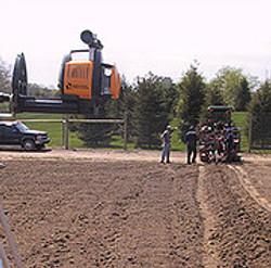 laser alignment for vine planting