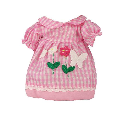 Vestito Rosa a Quadretti con Decorazioni Fiori&Farfalla