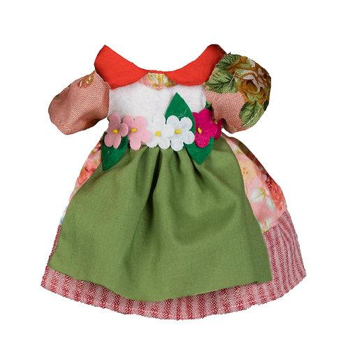 Vestito Rosa con Grembiule Verde