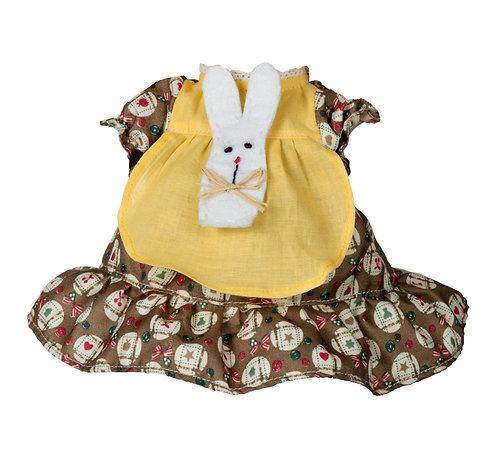 Vestito Marrone&Giallo con Coniglio