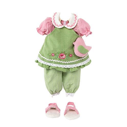 Vestito Verde con Rosa Ricamata